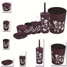 7PC PURPLE BATHROOM SET PLASTIC FLOWERS SOAP DISH BRUSH BIN TOOTHBRUSH HOLDER