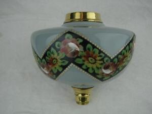 DECORATIVE ANTIQUE GLASS OIL LAMP FONT SUPERB HAND PAINTED FLORAL DECORATION