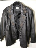 Bagatelle Leather Jacket Solid Black Button Front Beaded Floral Womens Size XXL