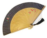 Black Silk Handfan Hand Held Folding Fan In Hand-painted Flower Design