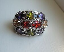 Beautiful Multi Stone Sterling Silver Wide Cocktail Accent Sz 9 Ring