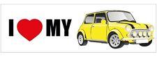 Mini Vintage Car Collectible Sticker - I Love my Mini - Yellow