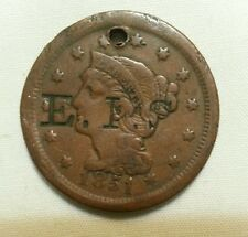 EIS countermark host 1851 us large cent counterstamp