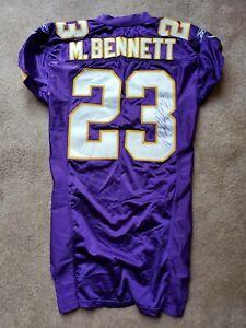 Minnesota Vikings #23 Michael Bennett Signed Game USED Football Jersey Wisconsin