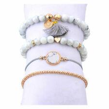 Armband Set 4 teilig grau Perlen Fransen Ibiza Style Boho Freundschaftsband
