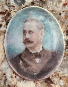 Antique American Miniature Portrait Painting Handsome Man 19th century 1800s