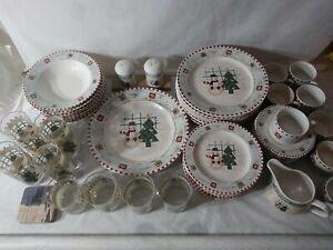 Gibson Dinnerware Set snowman & Christmas tree service for 7 plus Bonus glasses