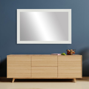 Framed Wall Mirror in White Finish - LaRue Collection