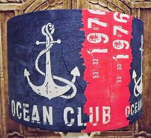 Ocean Club Lampshade Shabby Chic Nautical lamp shade blue red bathroom FREE GIFT