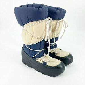 Vintage 80's Panther Mens Winter Puffy Moon Boots Size 7 Made in Italy Blue Navy