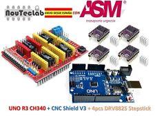 CNC Shield V3 Expansion Board + UNO R3 + 4pcs DRV8825 Stepper Motor Driver