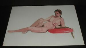 LQQK vintage unsigned 20X14 NUDE WATERCOLOR PAINTING #4