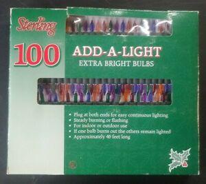 VTG NOS Strand/String 100 Lights MULTI-COLOR Extra Bright Sterling *ADD-A-LIGHT*
