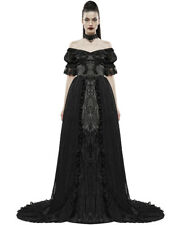Punk Rave Gothic Wedding Dress Long Black Train Steampunk VTG Victorian Ballgown