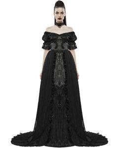 Punk Rave Gothic Wedding Dress Long Black Train Steampunk VTG Victorian Ballgown