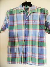 BOYS RALPH LAUREN  MULTI  PLAID COTTON  SHORT SLEEVE SHIRT SZ L MEN SMALL