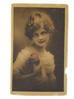 Vintage Real Photo Post Card Brown Tone Pretty Lady with a Rose 1910's?