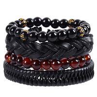 Charm Retro Braided Leather Bracelet Men's Beaded Elastic Bracelet Set DIY