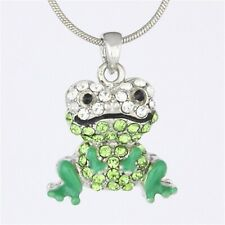 Green Peridot Crystal Enamel Painted Frog Toad Pendant Necklace P920