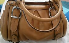 Karen millen tan brown leather barrel style handbag used ONCE excellent cond