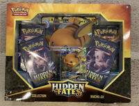 Pokemon Hidden Fates Raichu GX Box - 4 Booster Packs + Promo Card - Sun & Moon