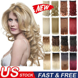 Thick Long Wavy Curly Clip-in Synthetic Remy Hair Extensions 5 Clips Hairpieces