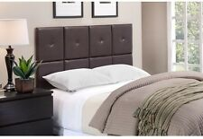 [NEW] Modern Faux Leather Upholstered Brown Espresso Squares Twin Headboard