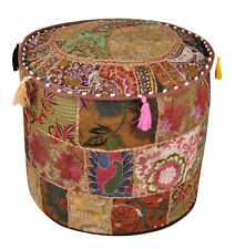 Ottoman Cover Indian Pouf Round Patchwork Footstool Vintage Handmade Traditional