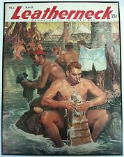 1945 Leatherneck Cover Print Gay Interest Naked Marine River Art