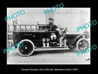 OLD LARGE HISTORIC PHOTO OF NEWNAN GEORGIA, THE FIRE DEPARTMENT TRUCK c1920
