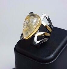 Handmade 925 Sterling Silver and 22K Gold Ring Natural Rutilated Quartz Size 7.5