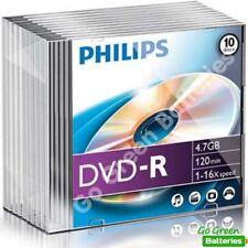 10 x Philips DVD-R Blank Recordable Discs 4.7GB 120 Mins 1-16x Speed Jewel Cases