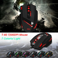 ZELOTES T-60 7200DPI Professional USB Wired Optical LED Backlight Gaming Mouse