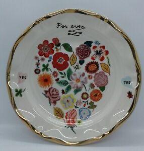 Anthropologie Plate ~ Nathalie Lete ~ Forever Heart Flowers ~ Gold Trim