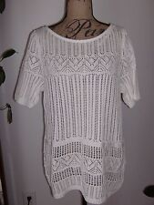 TALBOTS Intricate Open Stitch Short Sleeve Sweater NWT 100% Cotton White X