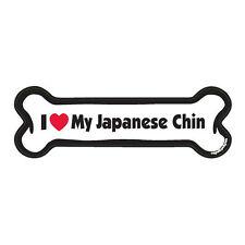 I Love My Japanese Chin Dog Bone Car Magnet