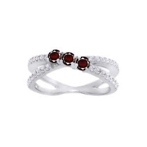 14k White Gold Over Silver Garnet Birthstone 0.80 CT 3-Stone Crossover Band Ring