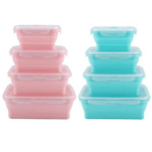 Silicone Collapsible Food Storage Container Folded Lunch Box 350/500/800/1200ml