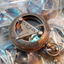 Lot of 24 Antique Brass Sundial Push Button Mini Compass Marine