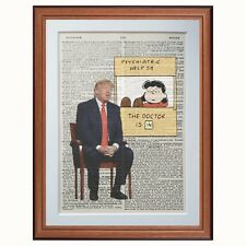 Donald Trump Vs Lucy - Charlie Brown - Make art... - dictionary page art print 1
