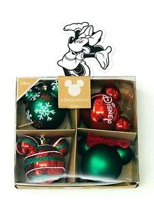 4x Disney Micky Maus Weihnachtskugeln Weihnachtsbaumschmuck rot grün glitzer NEU
