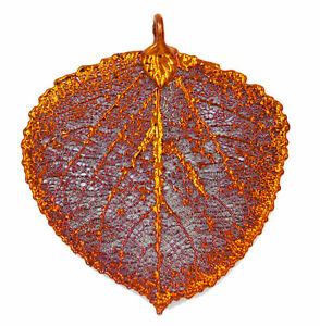 Zhannel Real Leaf ASPEN Pendant Dipped in Copper Genuine Leaf New