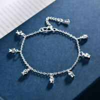 Fashion Women Silver Flower Charm Bangle Bracelet Jewelry Accessory Gifts3C