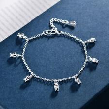 Fashion Women Silver Flower Charm Bangle Bracelet Jewelry Accessory Gifts