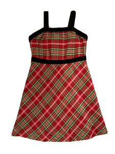 K.C. Parker Girls Red/Green/Black Plaid Christmas Holiday Fancy Party Dress Sz 6
