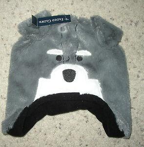 New Toddler Girls Gray Critter  Soft Fuzzy Hat OSFM DOG WOLF FLEECE LINED
