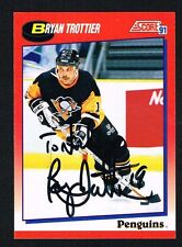 Bryan Trottier #229 signed autograph 1991-92 Score Hockey Canadian Release Card