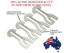 4x FOSKO AUSSIE SHOPPING TROLLEY COIN KEYS , $1 COIN + ALDI