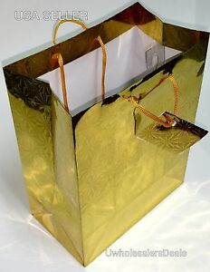 """8 Gift Bags Paper Holographic with Handle Birthday Gift Bags 9""""H x 7""""W x 4""""D"""
