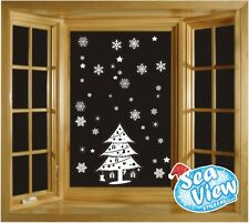 60 Snowflake/ Star & Christmas Tree Window Stickers Reusable Static Cling